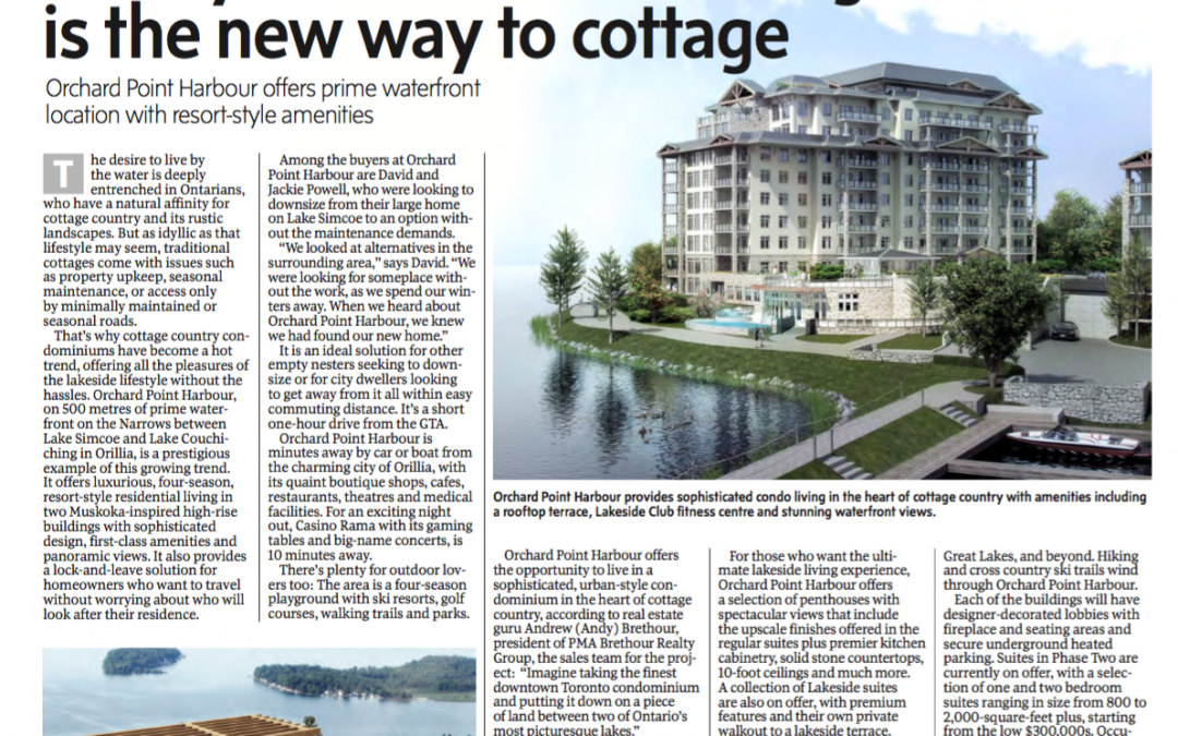 In the Press – Luxury Lakeside Condo Living is the New Way to Cottage