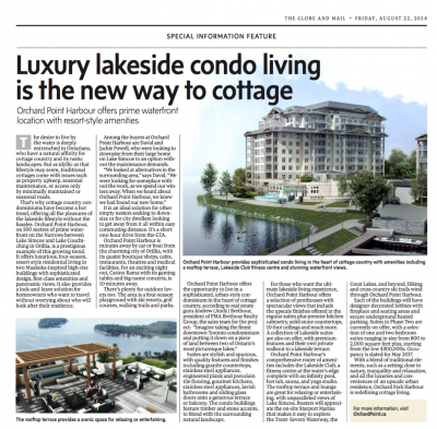 Luxury lakeside condo living is the new way to cottage